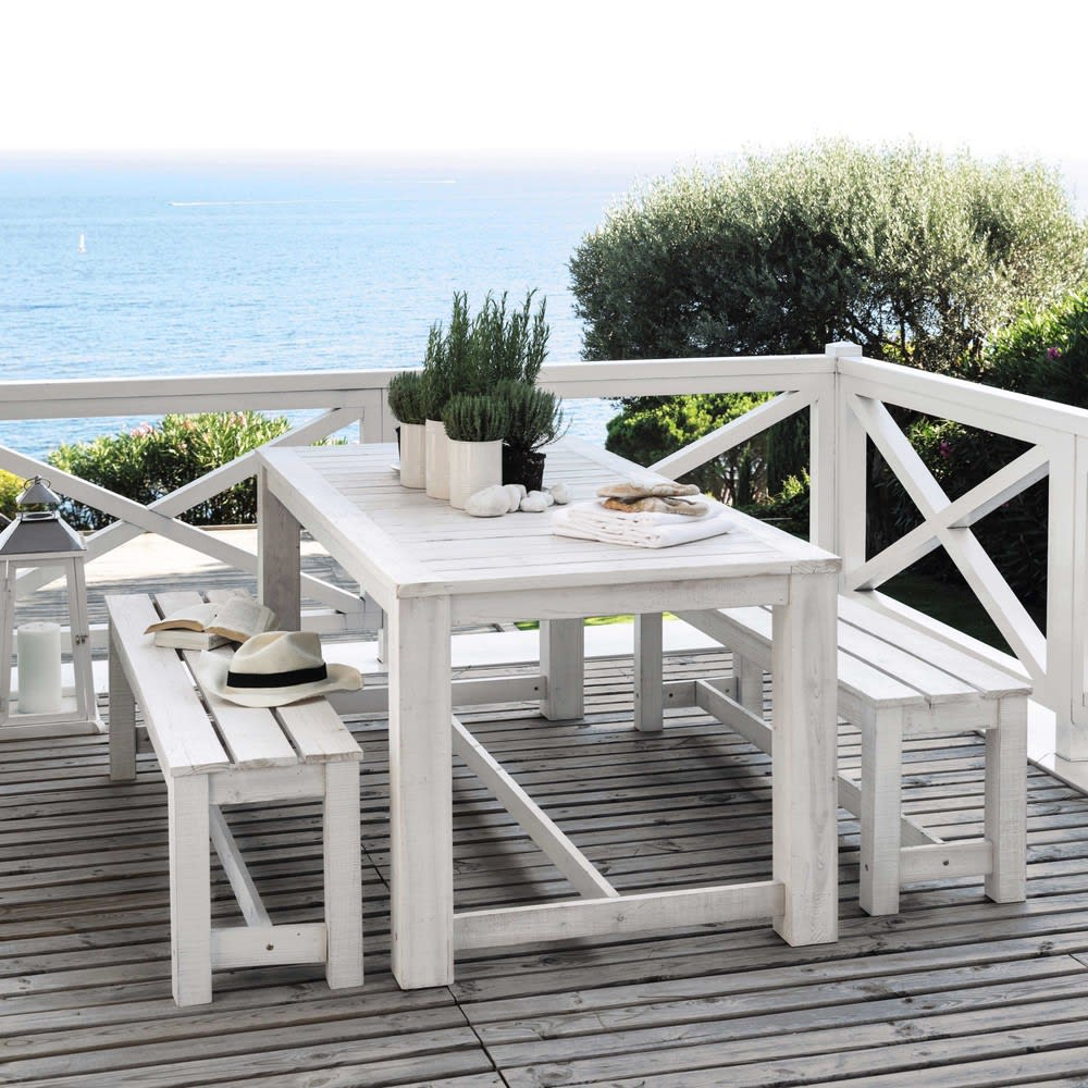 table 2 bancs de jardin en bois blanc l 180 cm brehat. Black Bedroom Furniture Sets. Home Design Ideas