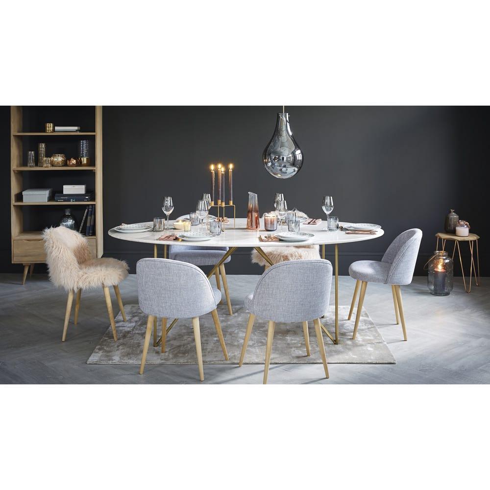 Table à Manger 4/6 Personnes En Marbre Blanc Et Fer Doré L200 Izmir
