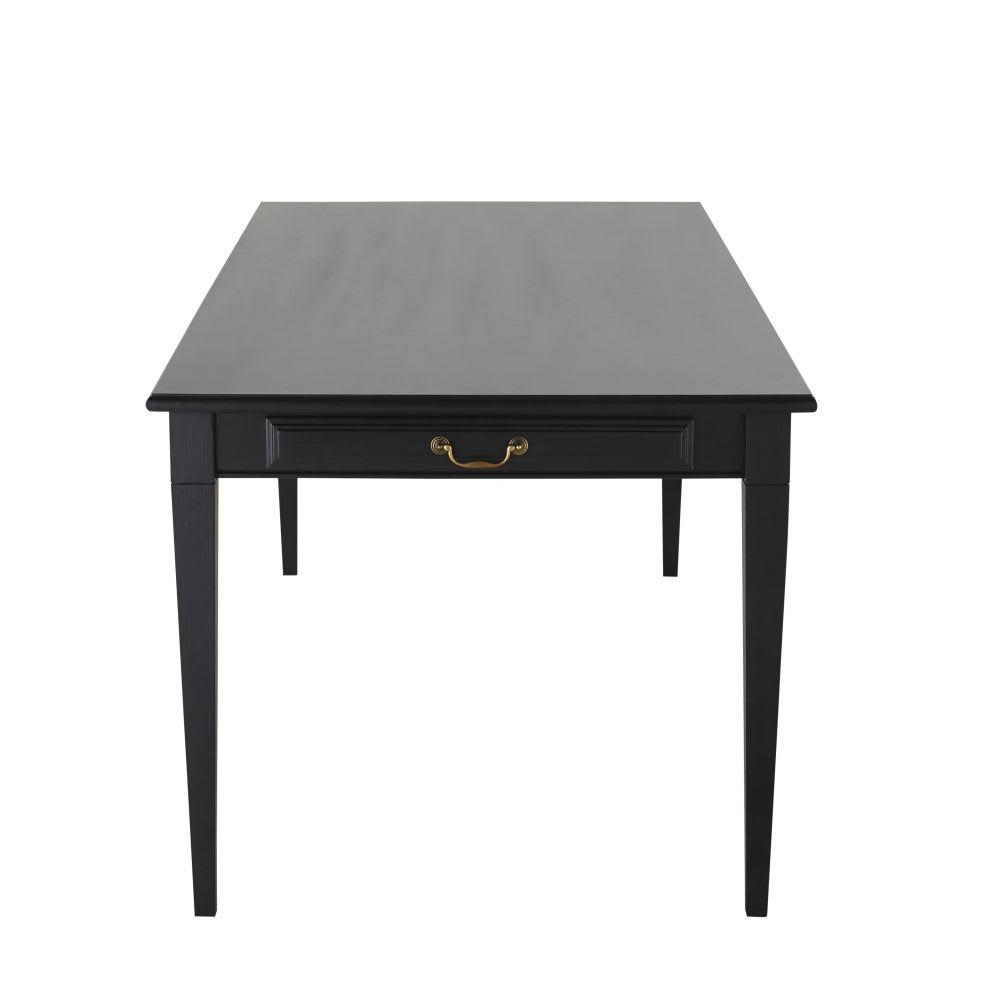 table manger 8 10 personnes 2 tiroirs noire l200 cambronne maisons du monde. Black Bedroom Furniture Sets. Home Design Ideas