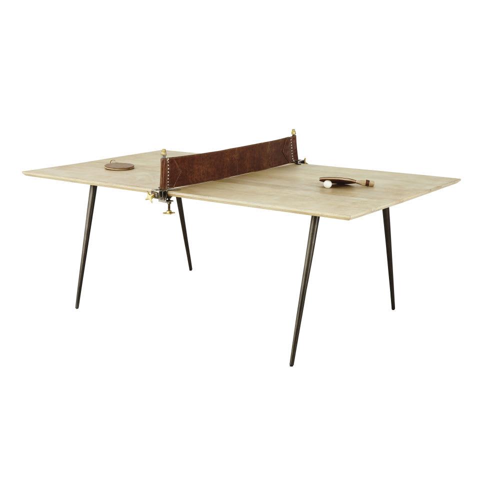 pong - table à manger 8/10 personnes en manguier et métal l207