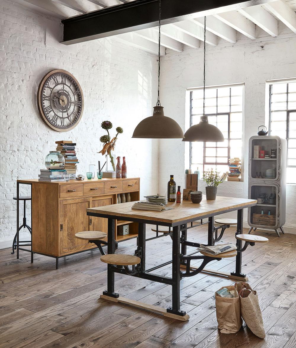 table manger 8 personnes avec tabourets en manguier et. Black Bedroom Furniture Sets. Home Design Ideas