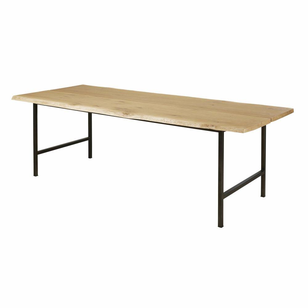 table manger 8 personnes en ch ne massif et m tal noir. Black Bedroom Furniture Sets. Home Design Ideas