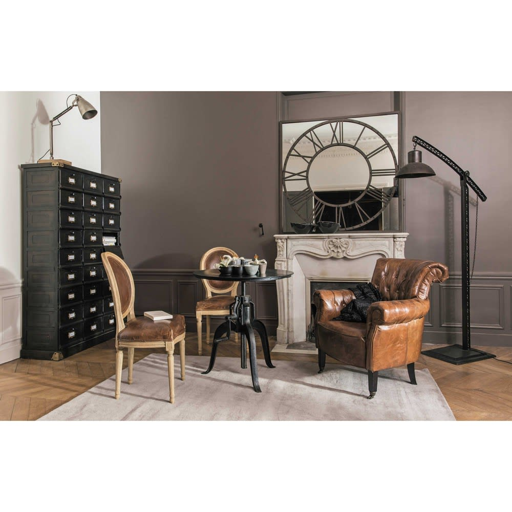 table manger bistrot ronde en m tal noir 4 personnes d75. Black Bedroom Furniture Sets. Home Design Ideas