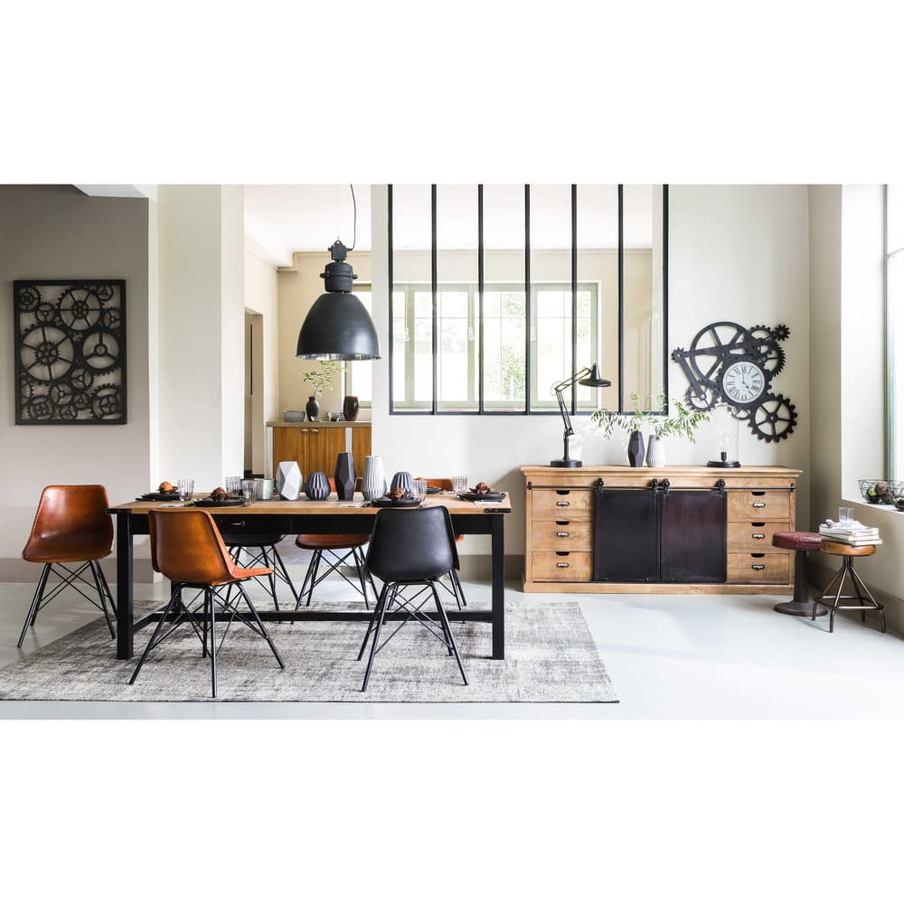 table manger en manguier et m tal 8 10 personnes l200. Black Bedroom Furniture Sets. Home Design Ideas