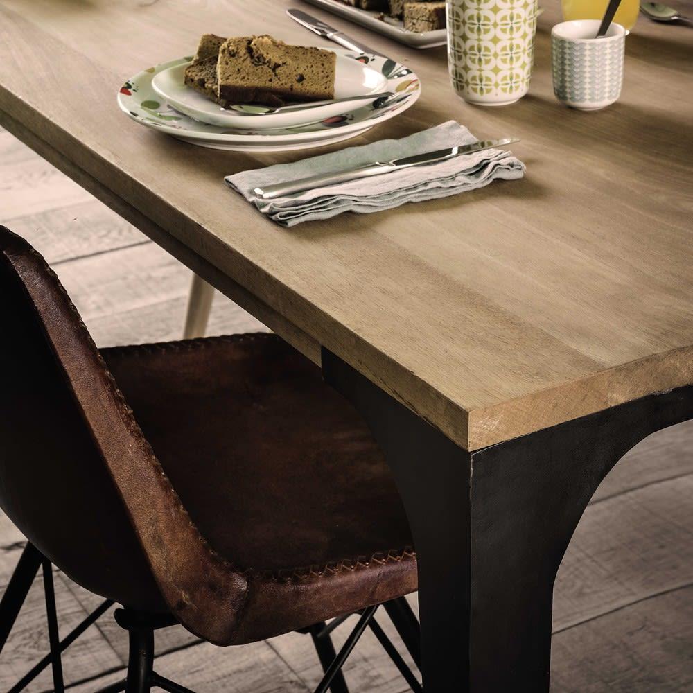 table manger en manguier et m tal 8 personnes l180 metropolis maisons du monde. Black Bedroom Furniture Sets. Home Design Ideas