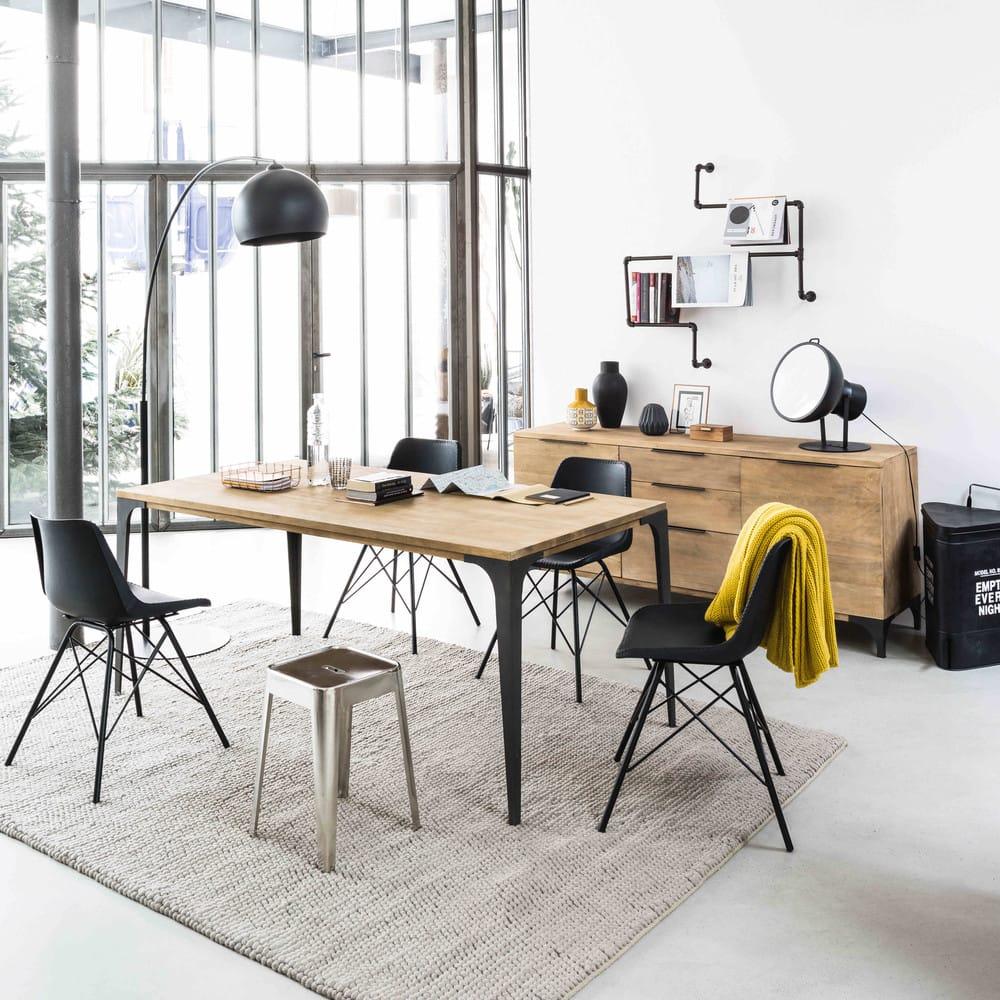 table manger en manguier et m tal 8 personnes l180. Black Bedroom Furniture Sets. Home Design Ideas