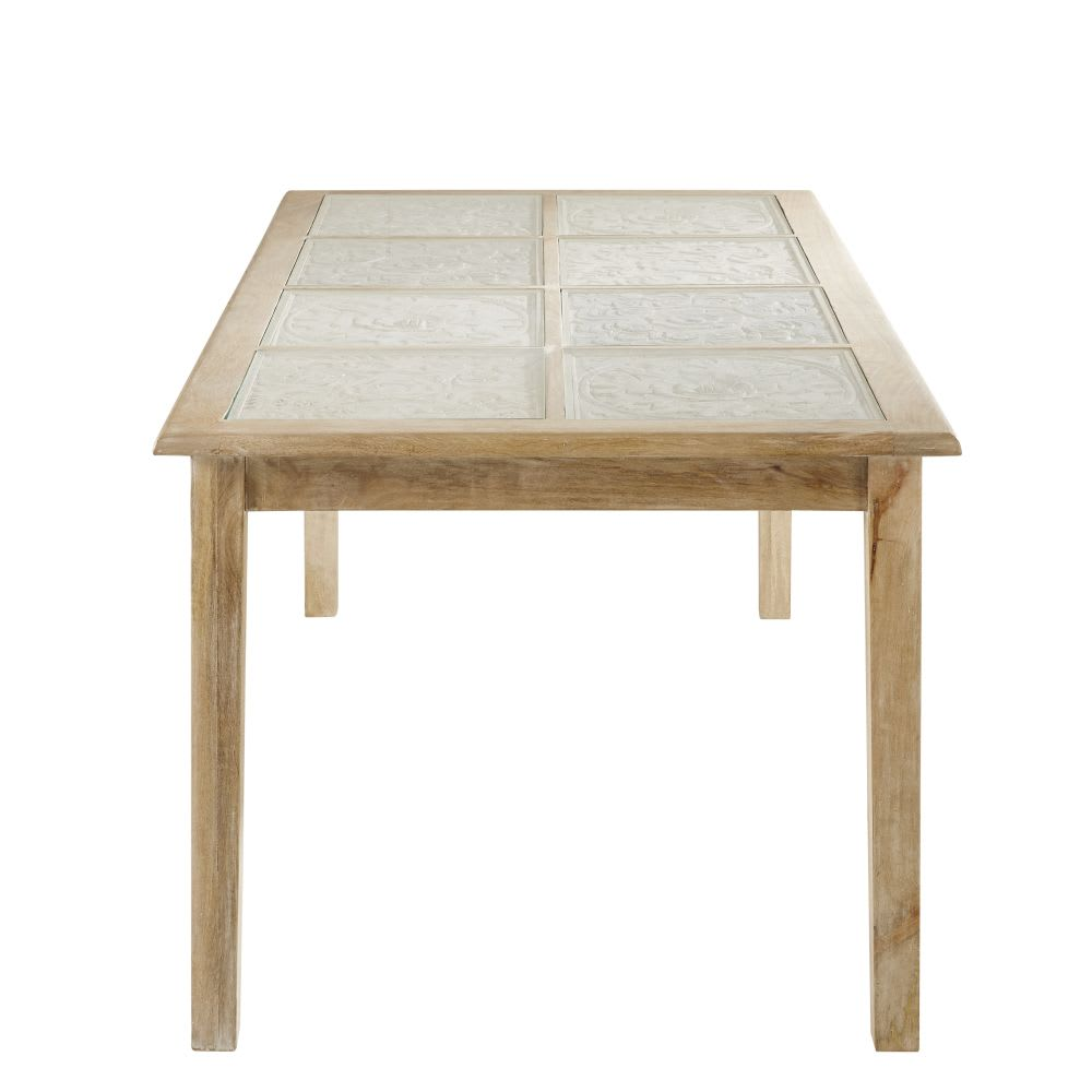 table manger en manguier massif et verre 8 personnes. Black Bedroom Furniture Sets. Home Design Ideas