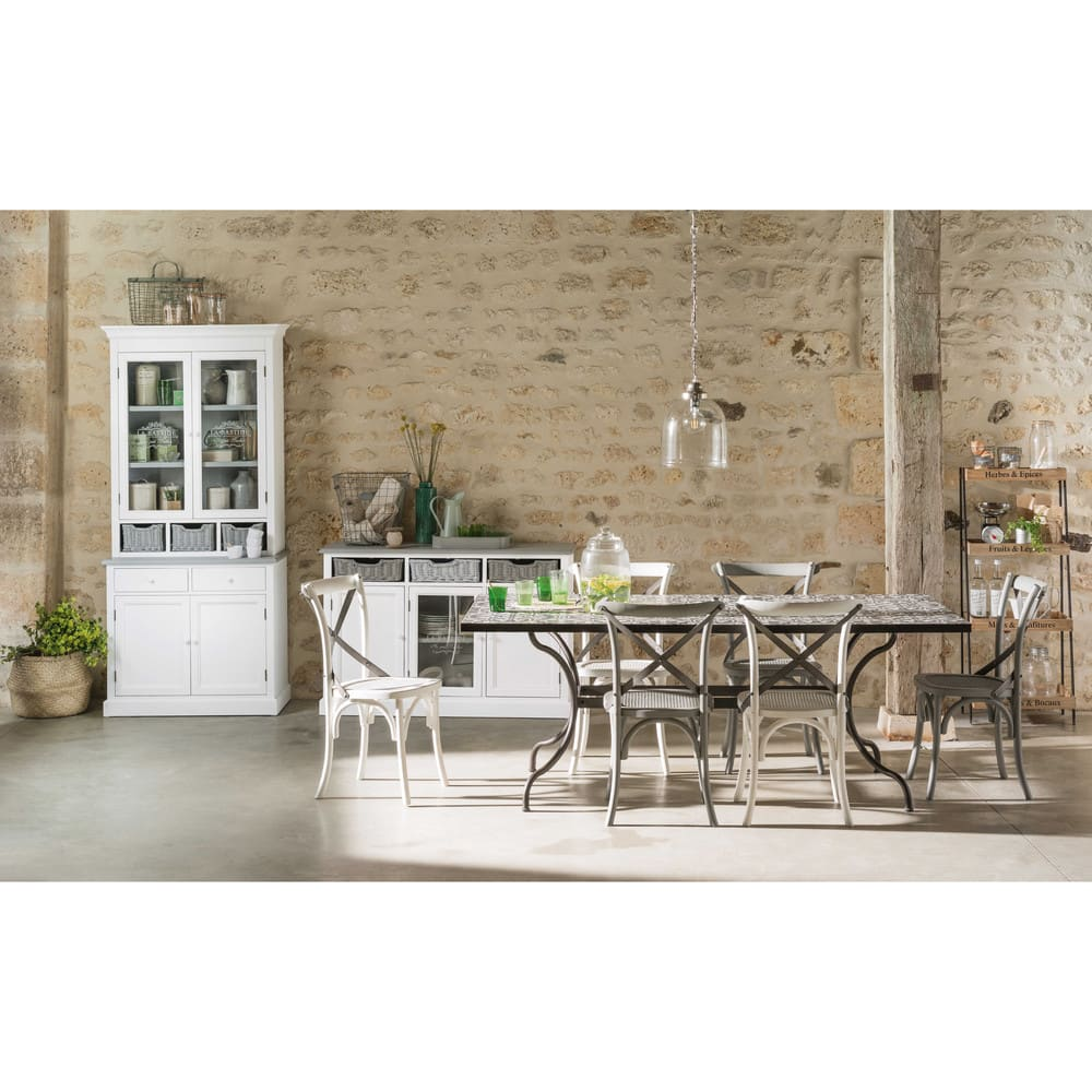 Table à manger en métal et carreaux de ciment 6 8 personnes L200 Rosa c543b8e718ab