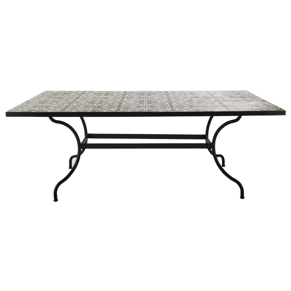 Table à manger en métal et carreaux de ciment 6/8 personnes L200 ...