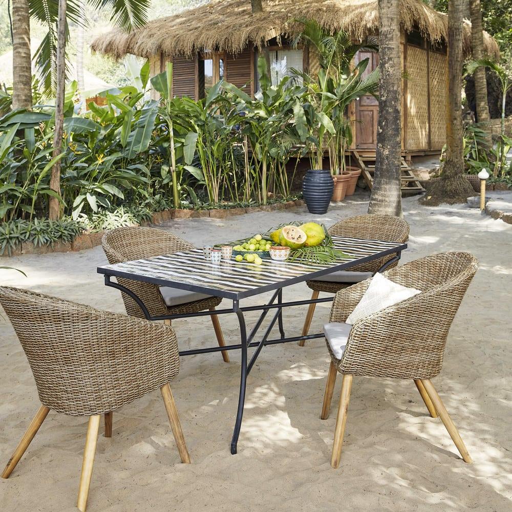 table manger en m tal et zellige 6 8 personnes l160 zelie maisons du monde. Black Bedroom Furniture Sets. Home Design Ideas