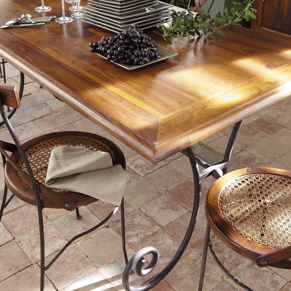 Table manger en sheesham et fer forg 8 personnes l180 - Salle a manger en fer forge et verre ...