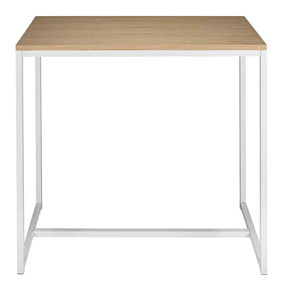 table manger haute en m tal blanc 4 6 personnes l120. Black Bedroom Furniture Sets. Home Design Ideas