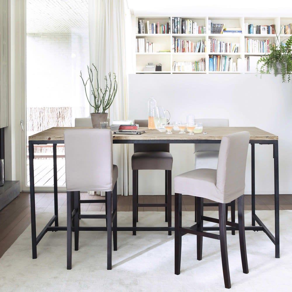 table manger haute en sapin et m tal 10 personnes l210 long island maisons du monde. Black Bedroom Furniture Sets. Home Design Ideas