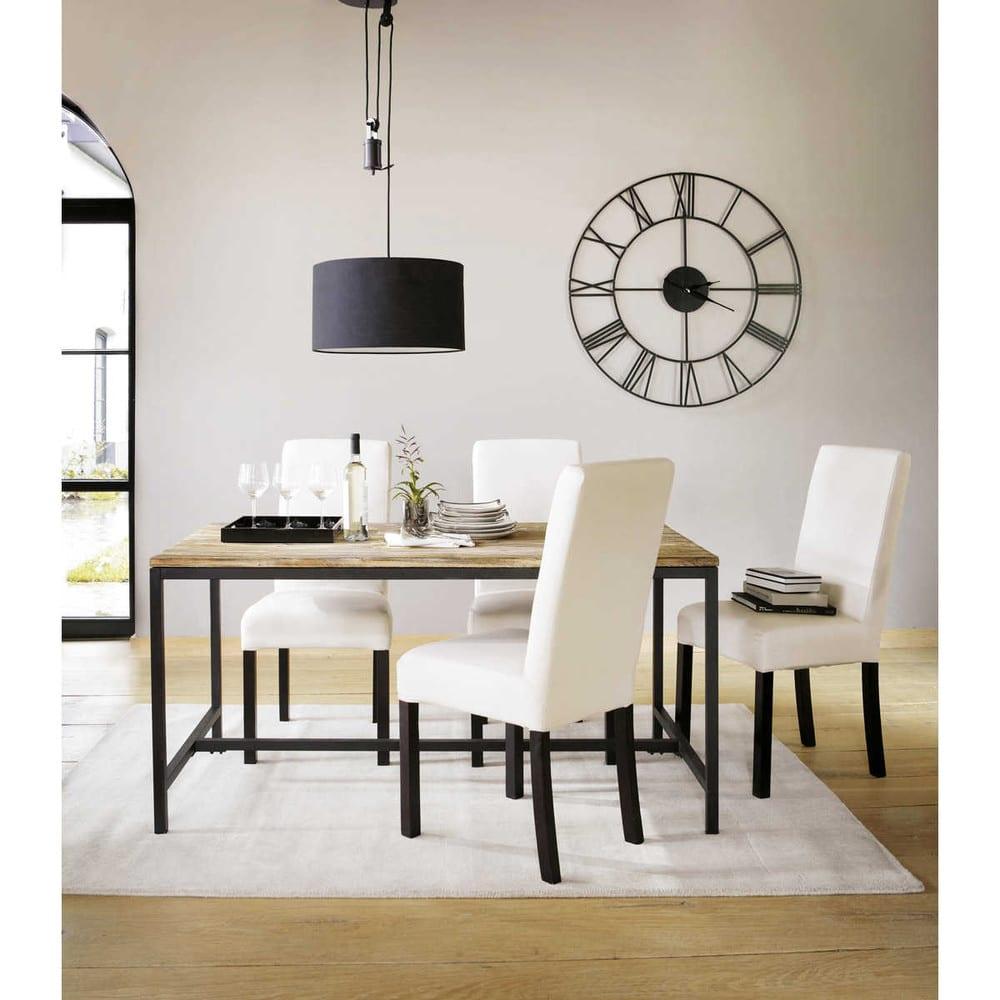 table manger indus 6 8 personnes en sapin massif et m tal l150 long island maisons du monde. Black Bedroom Furniture Sets. Home Design Ideas