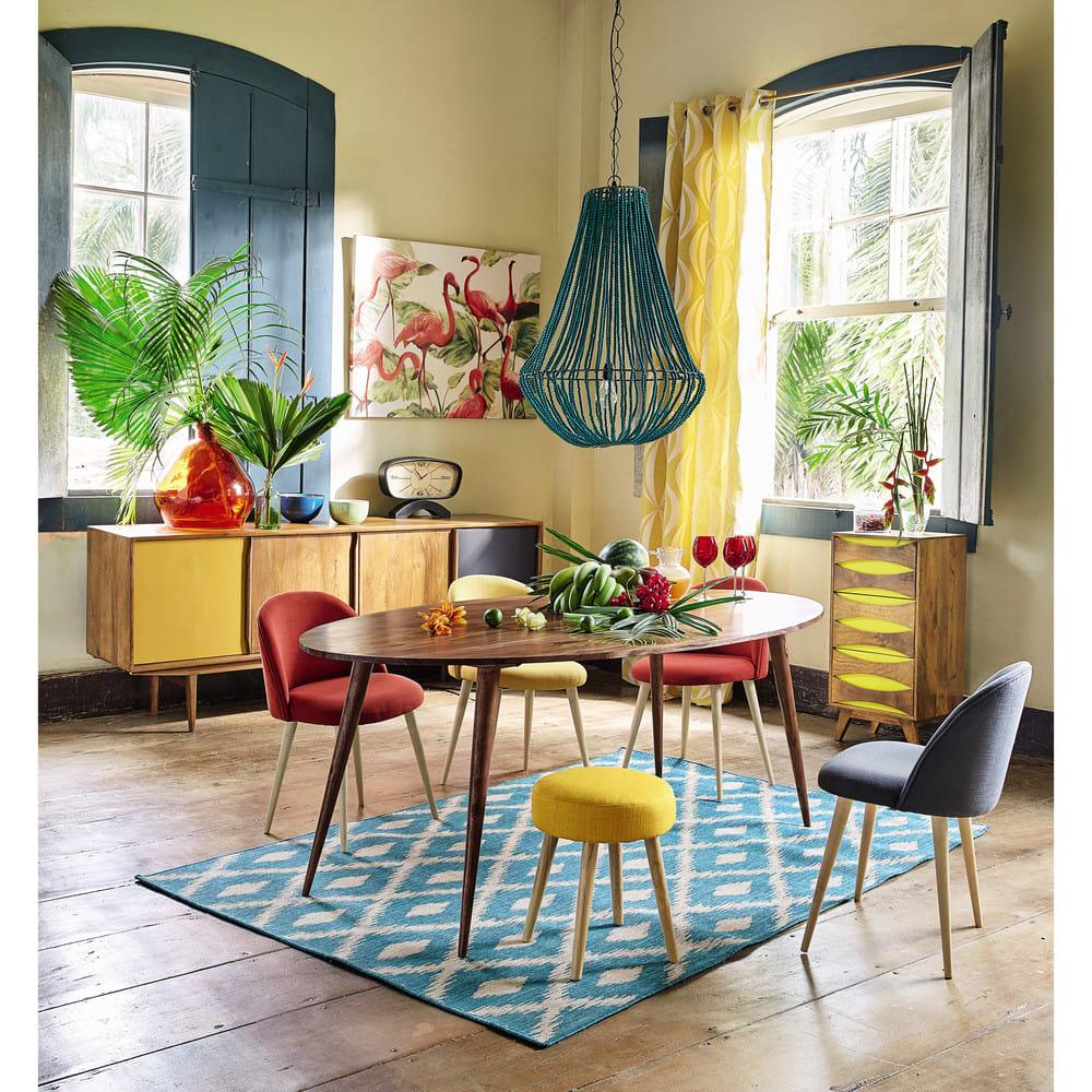 table manger ovale en sheesham massif 6 8 personnes l200. Black Bedroom Furniture Sets. Home Design Ideas