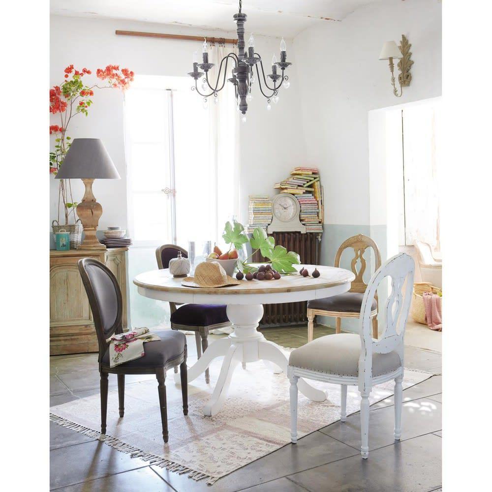 Table manger ronde en bouleau 6 8 personnes d140 provence maisons du monde - Maison du monde table a manger ...