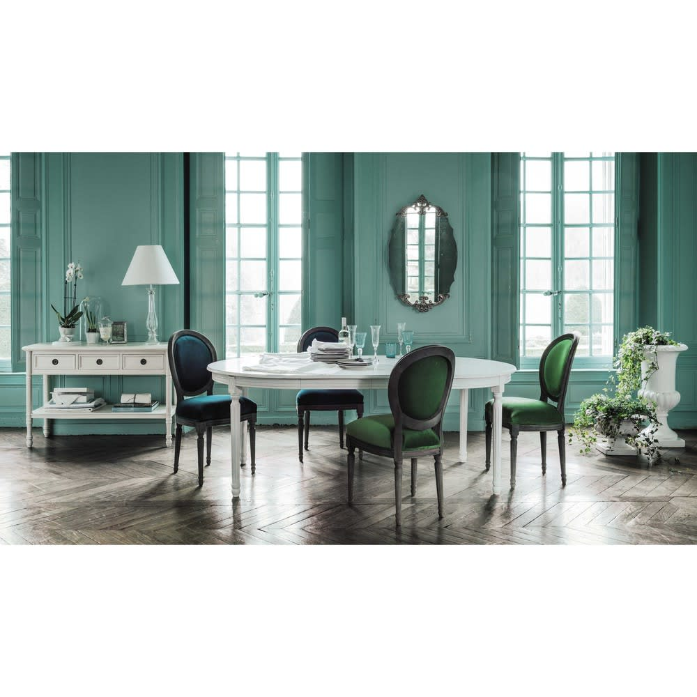 table manger ronde extensible blanche 4 8 personnes l120 200 louis maisons du monde. Black Bedroom Furniture Sets. Home Design Ideas