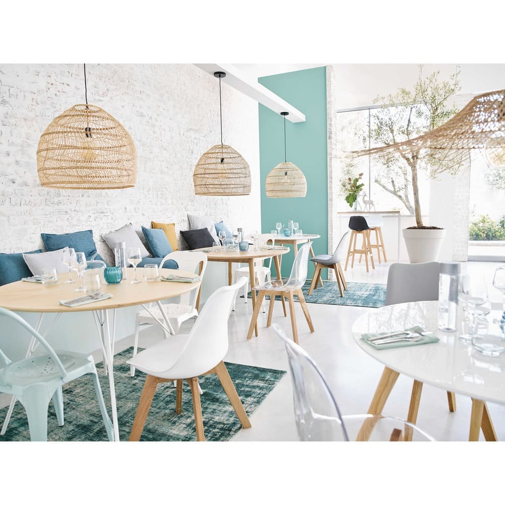 table manger ronde vintage en ch ne massif 4 personnes d100 norway maisons du monde. Black Bedroom Furniture Sets. Home Design Ideas