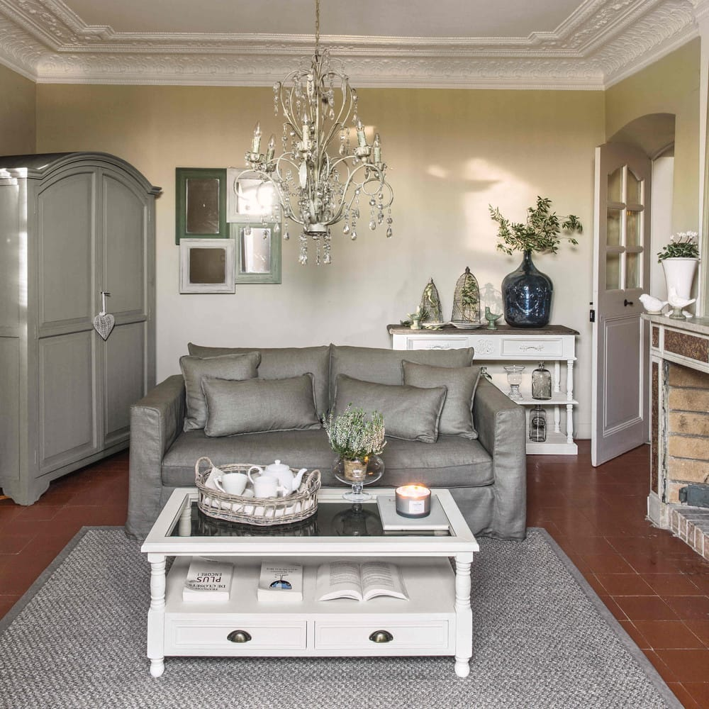 Table basse 2 tiroirs blanche jos phine maisons du monde - Table basse conforama blanche ...