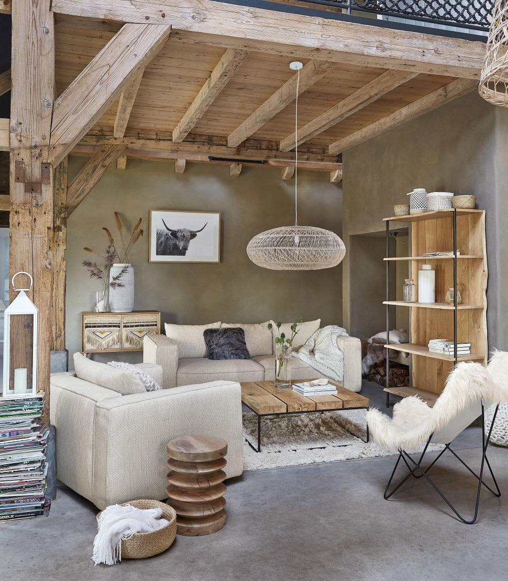 table basse carr e en ch ne massif et m tal noir magnus. Black Bedroom Furniture Sets. Home Design Ideas