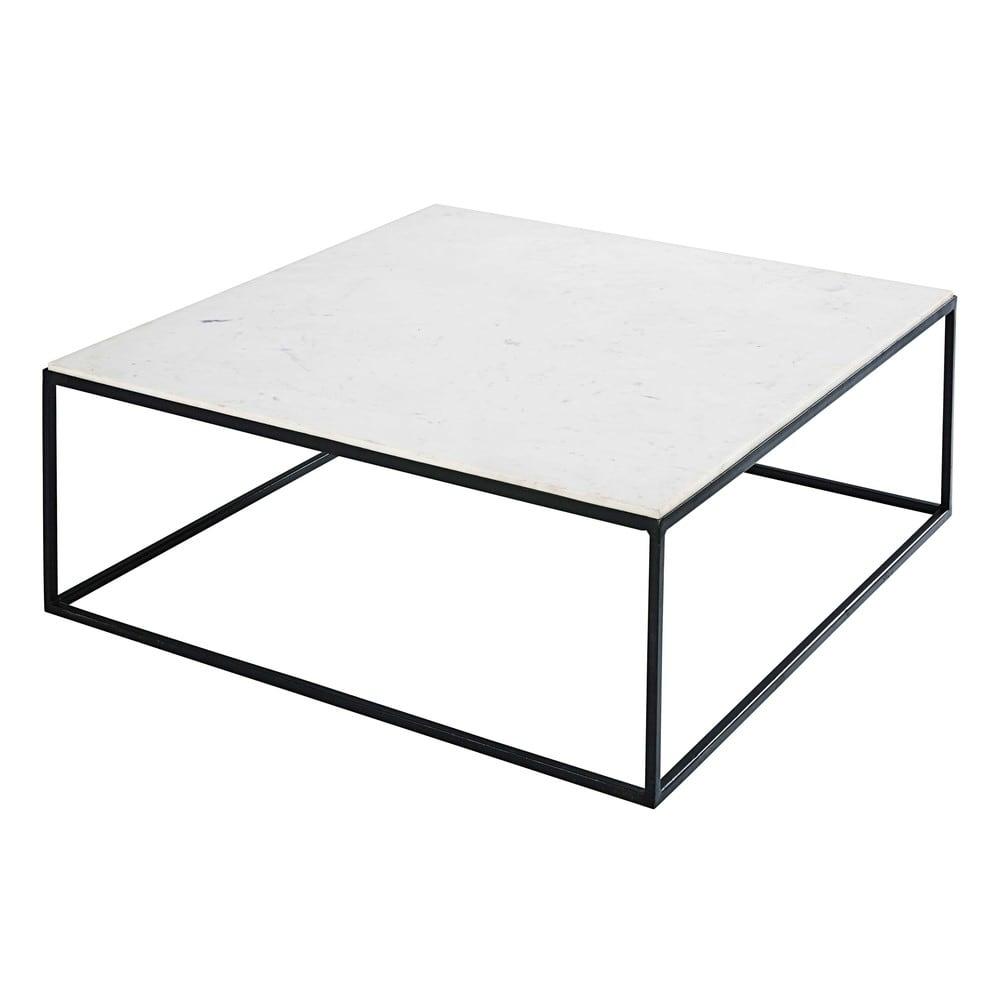Table basse carr e en marbre blanc et m tal noir marble Table basse metal noir