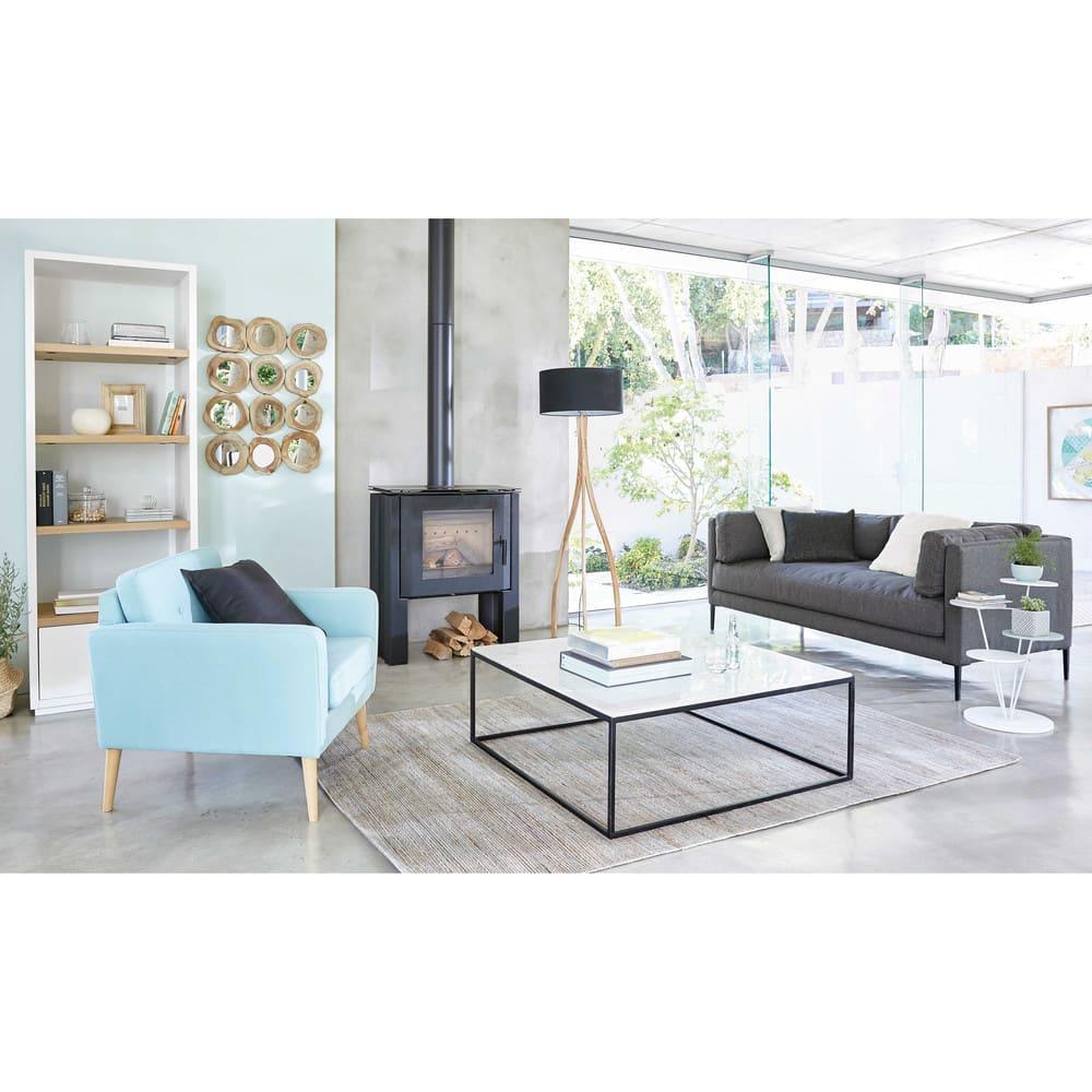 Table Basse Carrée En Marbre Blanc Et Métal Noir Marble Maisons Du