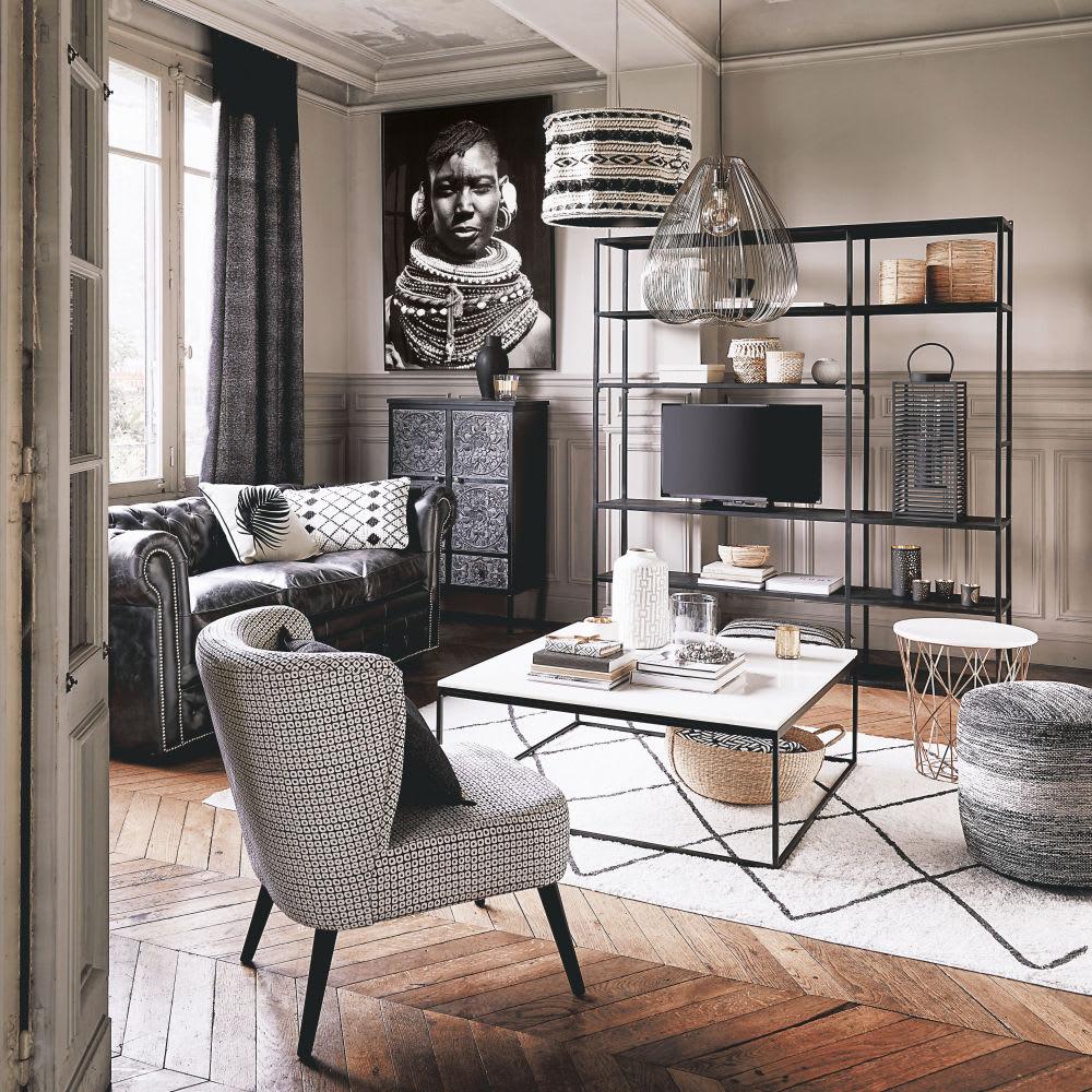 table basse carr e en marbre blanc et m tal noir marble. Black Bedroom Furniture Sets. Home Design Ideas