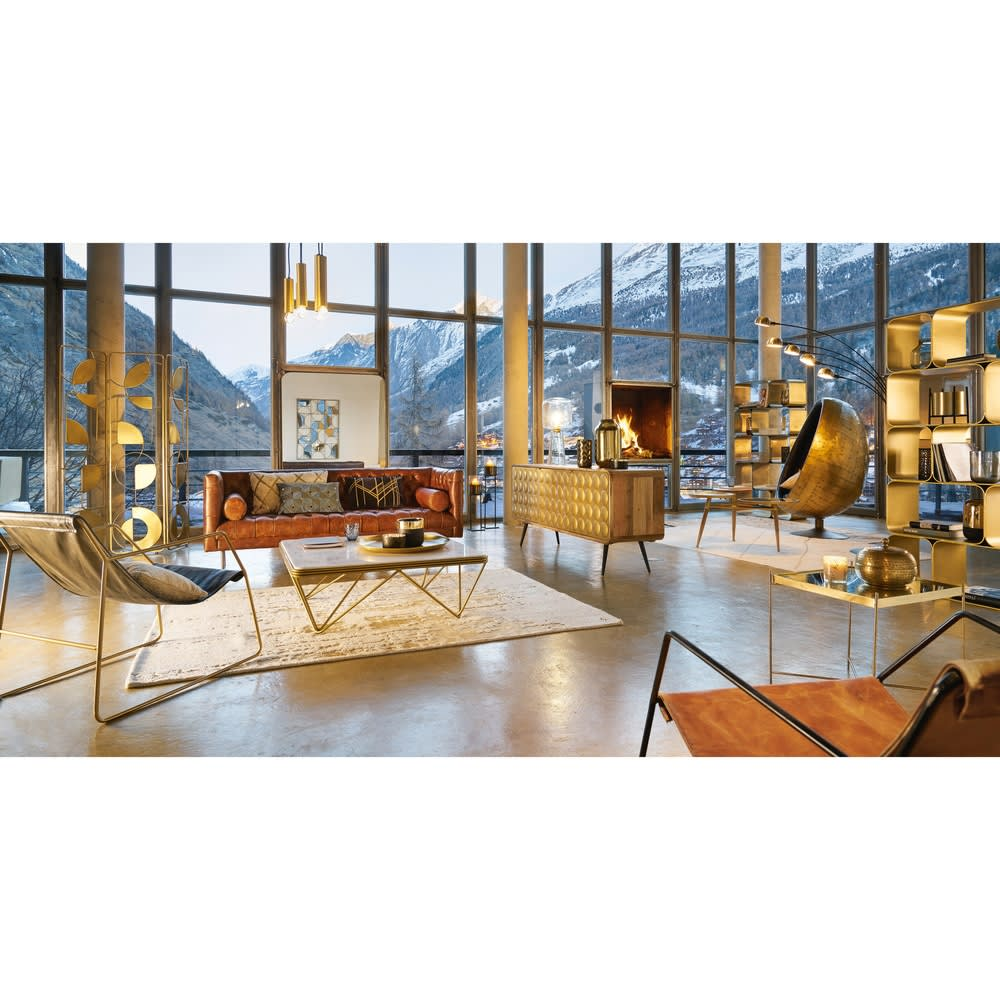 table basse carr e en marbre et m tal dor gatsby maisons du monde. Black Bedroom Furniture Sets. Home Design Ideas