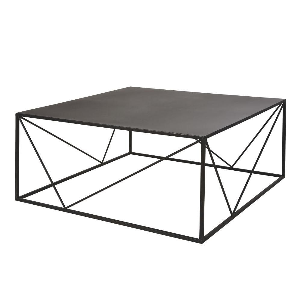 table basse noir metal table basse carr e en m tal noir edwin maisons du monde