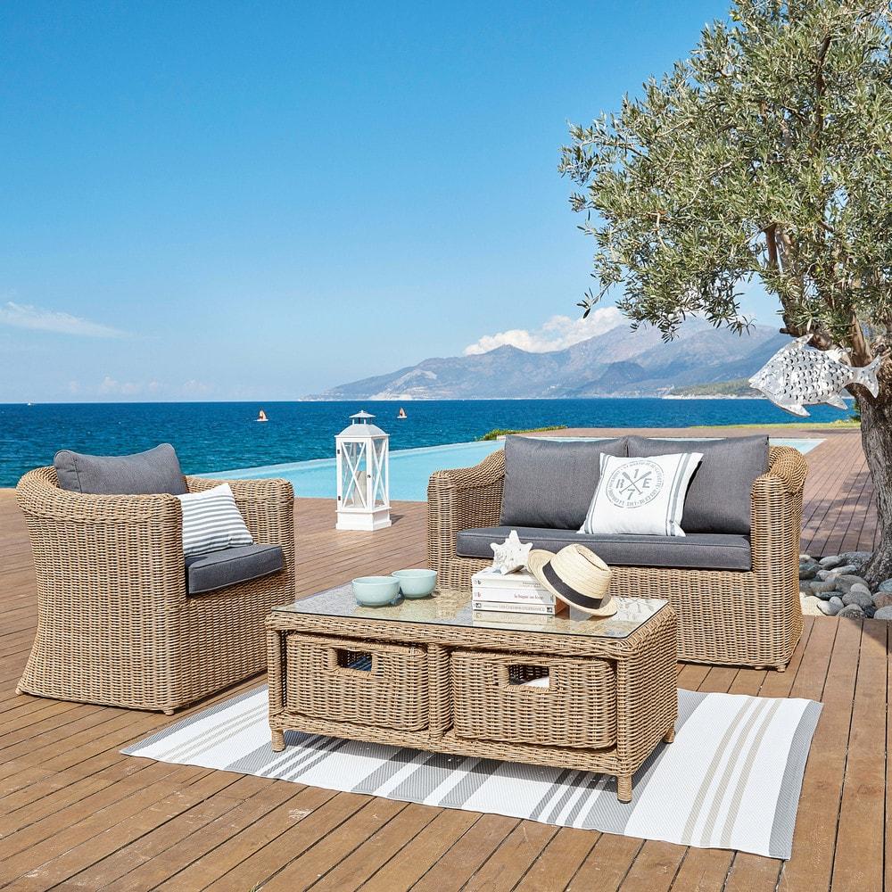 table basse de jardin 2 tiroirs en verre tremp et r sine. Black Bedroom Furniture Sets. Home Design Ideas