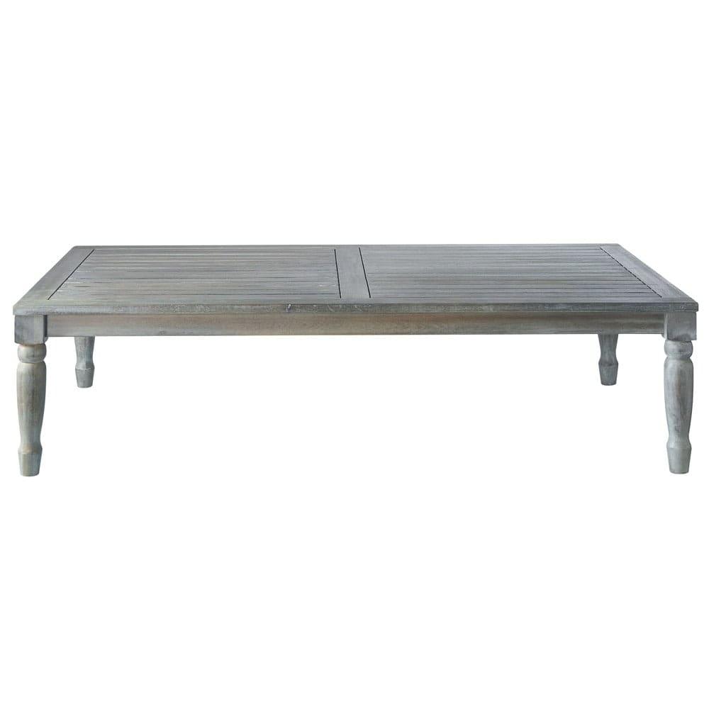 Table basse de jardin en acacia grise L 140 cm Chypre   Maisons du Monde