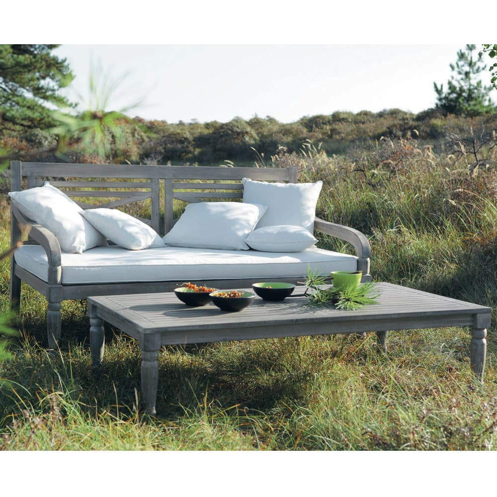 table basse de jardin en acacia grise l 140 cm chypre. Black Bedroom Furniture Sets. Home Design Ideas