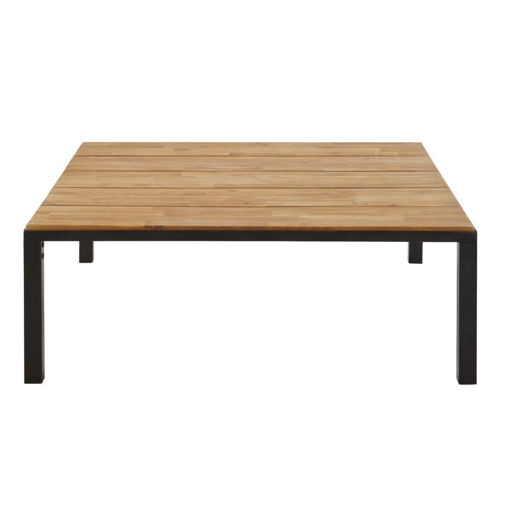 Table basse de jardin en acacia massif et métal noir Oural | Maisons ...