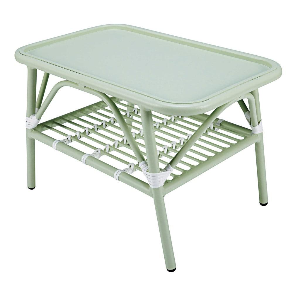 Table basse de jardin en aluminium vert clair et blanc Gariguette ...