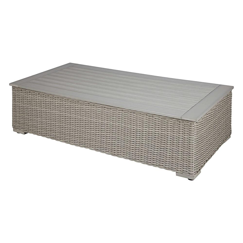 Table basse de jardin en composite et résine tressée grise