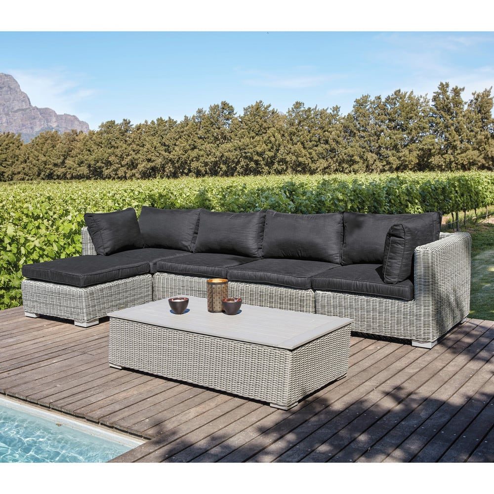 table basse de jardin en composite et r sine tress e grise. Black Bedroom Furniture Sets. Home Design Ideas