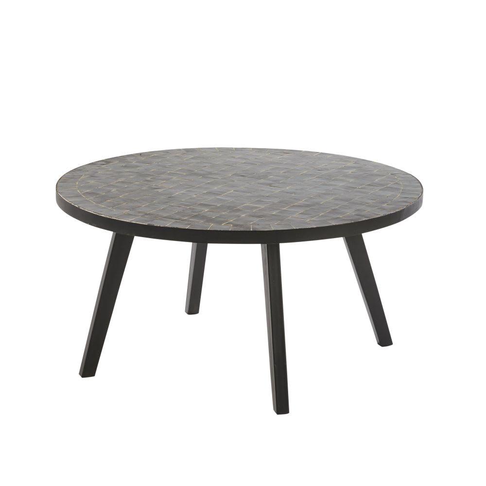 table basse de jardin en mosa que noire zeliges maisons. Black Bedroom Furniture Sets. Home Design Ideas