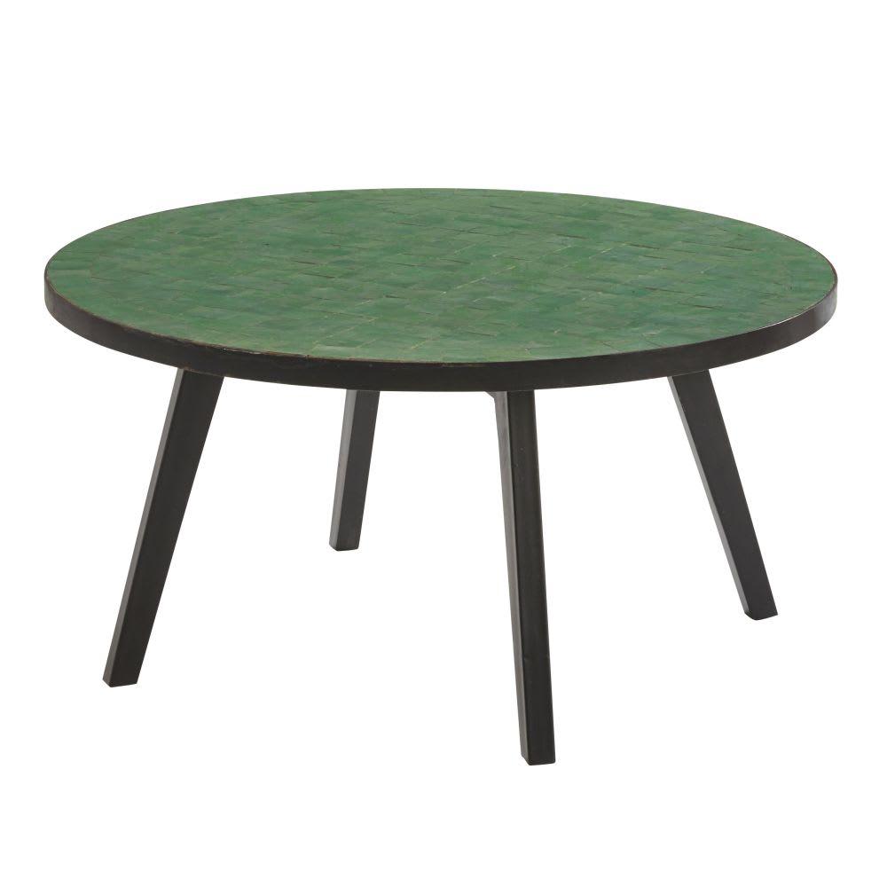 Table basse de jardin en mosaïque verte