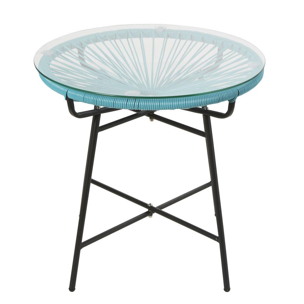 Table basse de jardin en résine bleue et verre Copacabana | Maisons ...