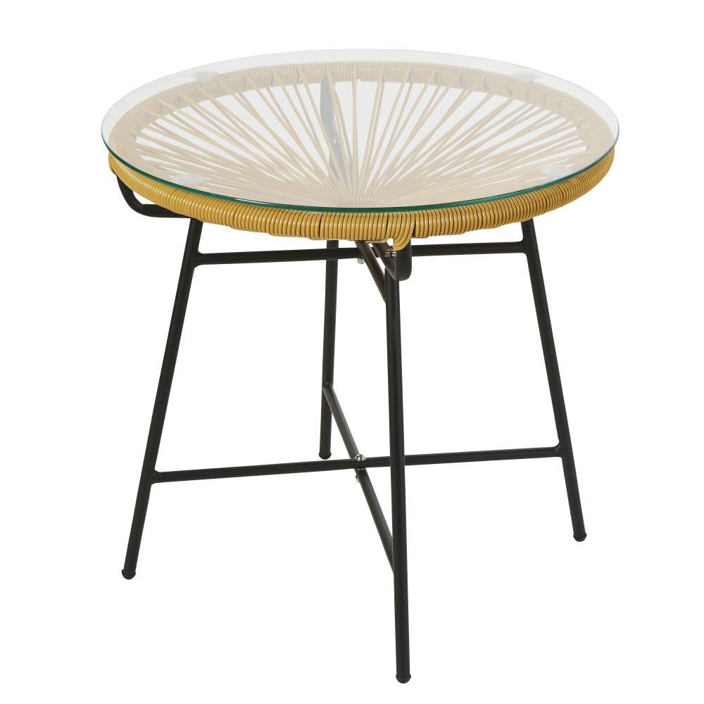 table basse de jardin en r sine jaune moutarde et verre. Black Bedroom Furniture Sets. Home Design Ideas