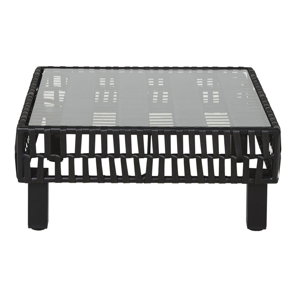 Table basse de jardin en résine tressée noire et verre Massai ...