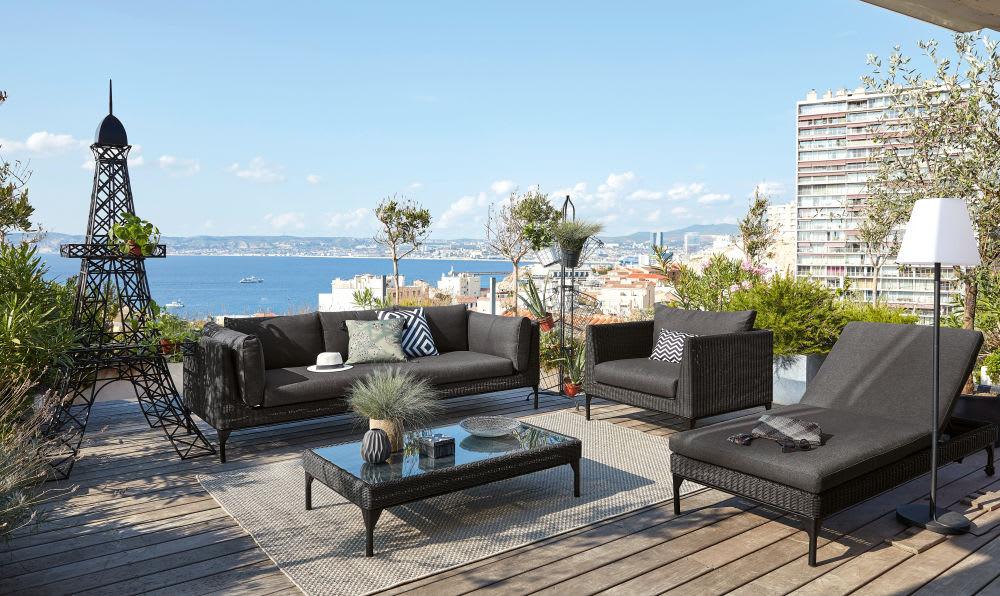 Table basse de jardin en résine tressée noire et verre Hyères ...