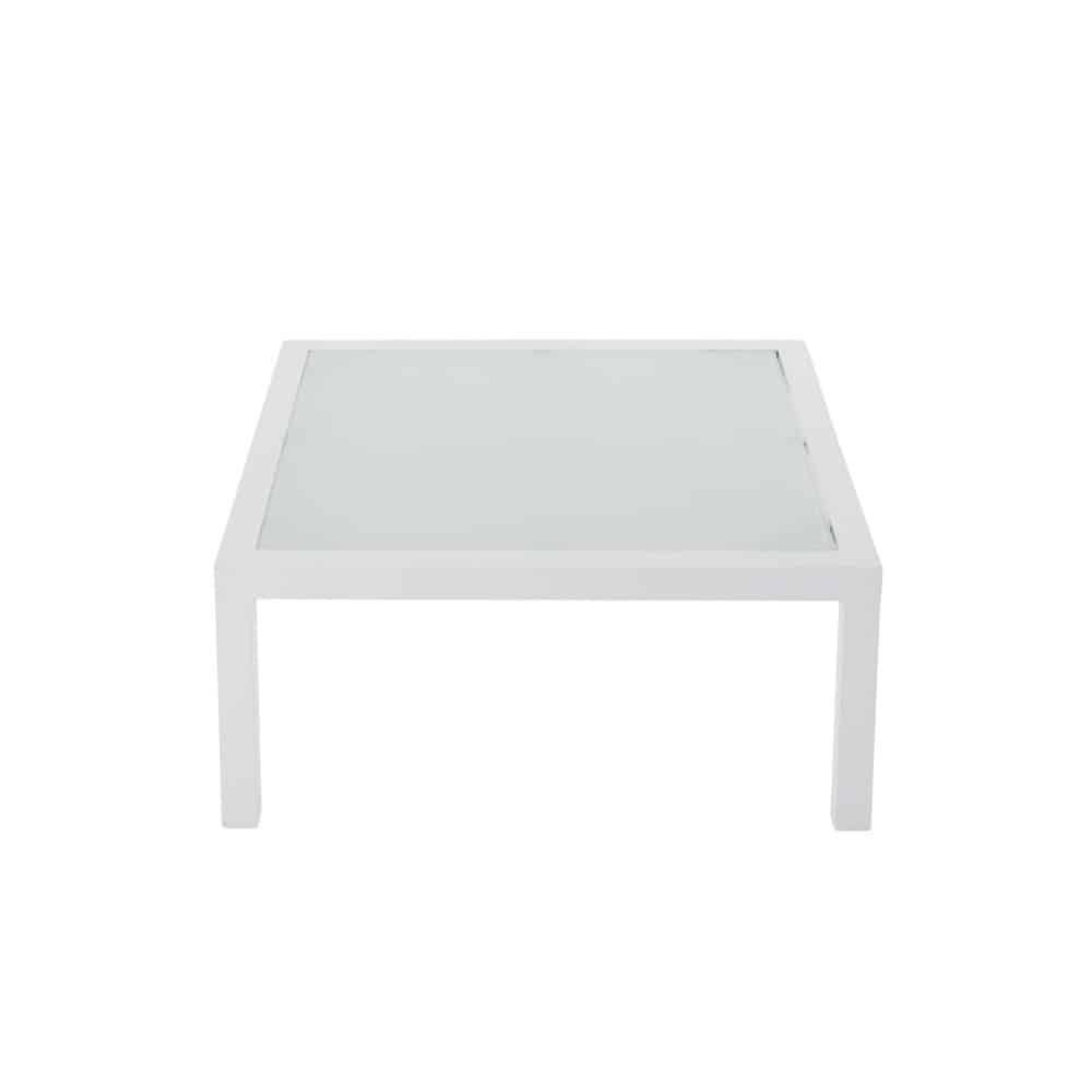 Table basse de jardin en verre trempé et aluminium blanc L 71 cm
