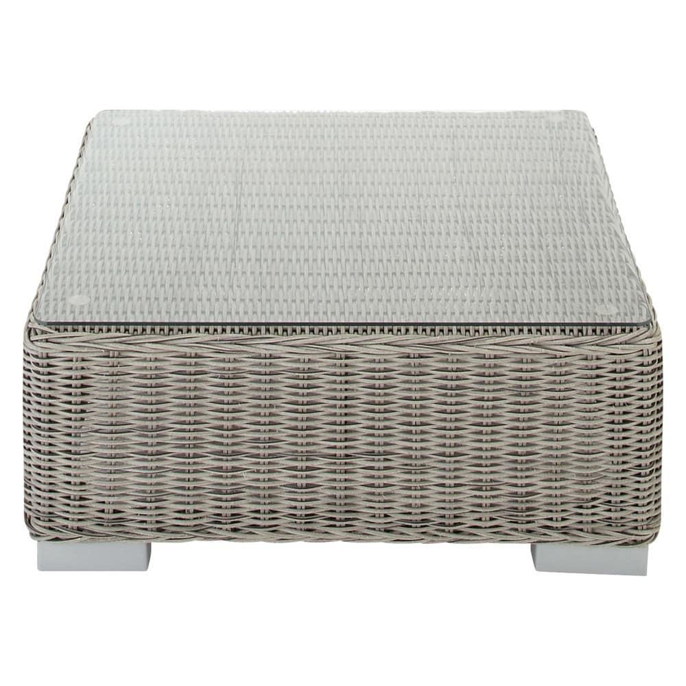 Table basse de jardin en verre trempé et résine tressée grise L 77 cm