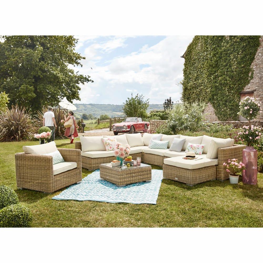 table basse de jardin en verre tremp et r sine tress e l. Black Bedroom Furniture Sets. Home Design Ideas