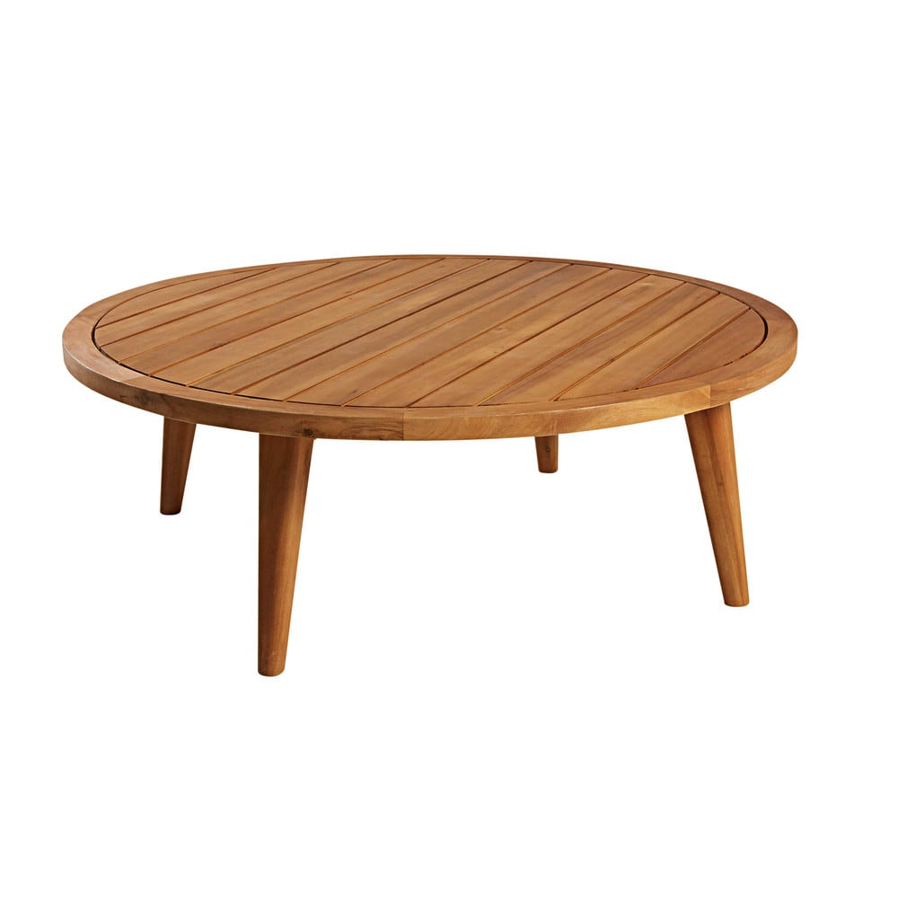Table basse de jardin ronde en acacia massif Noumea | Maisons du Monde
