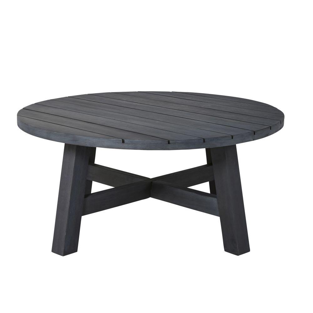 Table basse de jardin ronde en acacia massif noir Perissa | Maisons ...