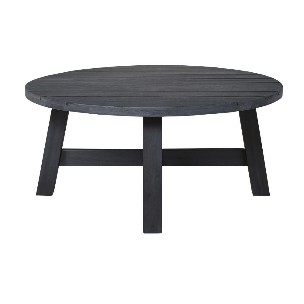 table basse de jardin ronde en acacia massif noir perissa. Black Bedroom Furniture Sets. Home Design Ideas