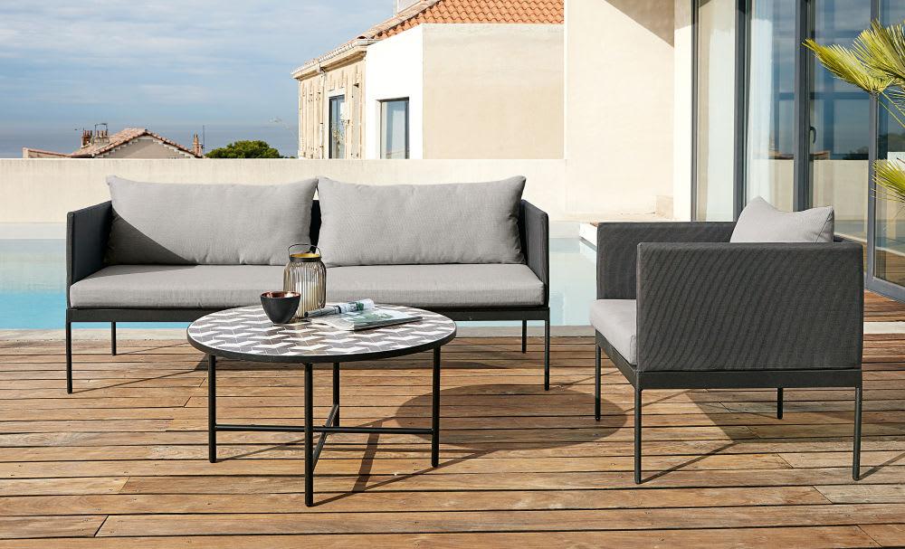 table basse de jardin ronde en c ramique grise et blanche. Black Bedroom Furniture Sets. Home Design Ideas