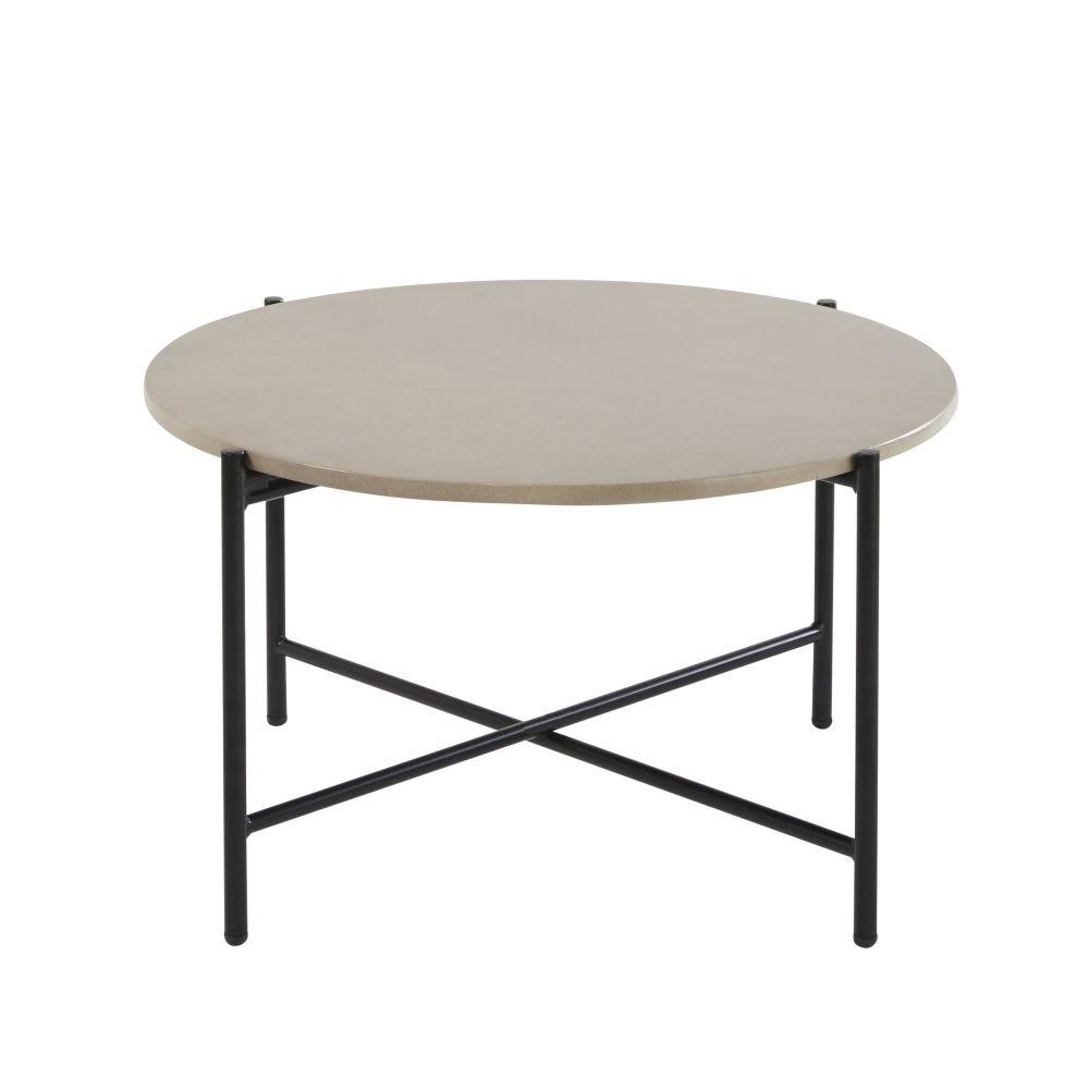 Table Basse De Jardin Ronde En Ciment Et Métal Noir Simenti